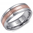 A Torque Ring In White Cobalt With A Hammered Rose Gold Center And Milgrain Detailing.