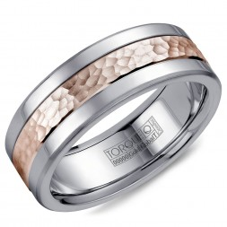A Torque Ring In White Cobalt With A Hammered Rose Gold Center.