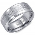 A Torque Ring In White Cobalt With A Hammered White Gold Center.