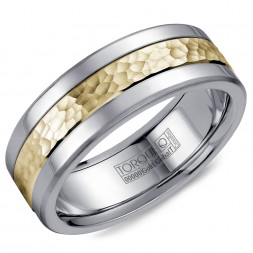 A Torque Ring In White Cobalt With A Hammered Yellow Gold Center.
