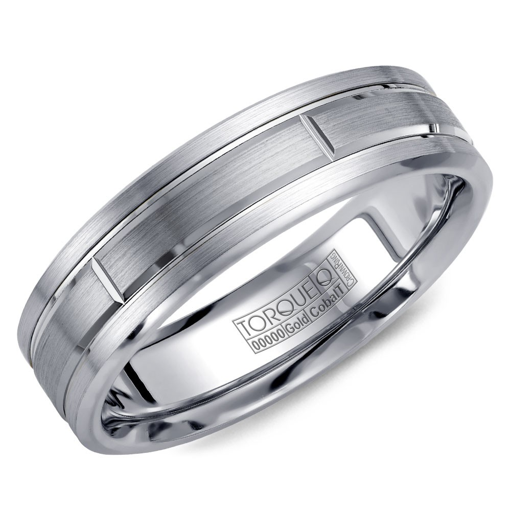 A Torque Ring In White Cobalt With A Brushed White Gold Center.