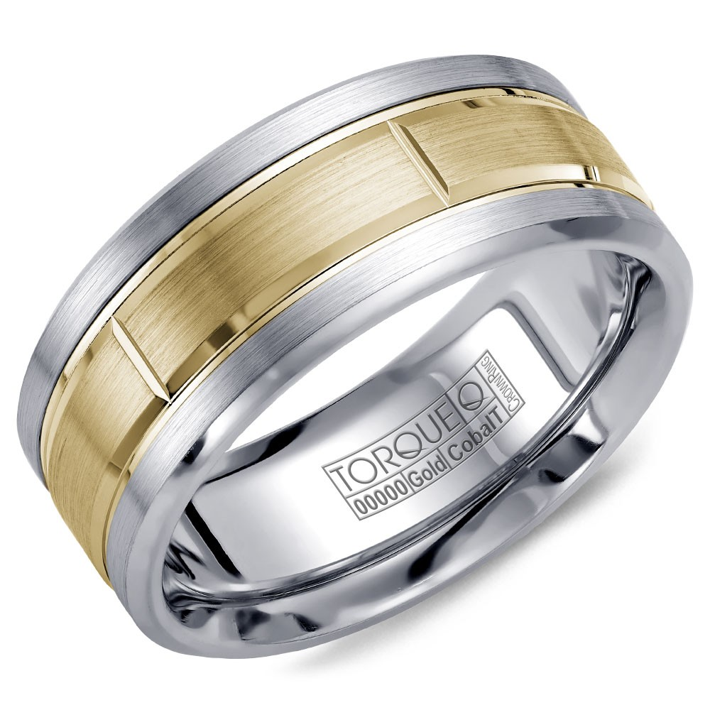A Torque Ring In White Cobalt With A Brushed Yellow Gold Center.