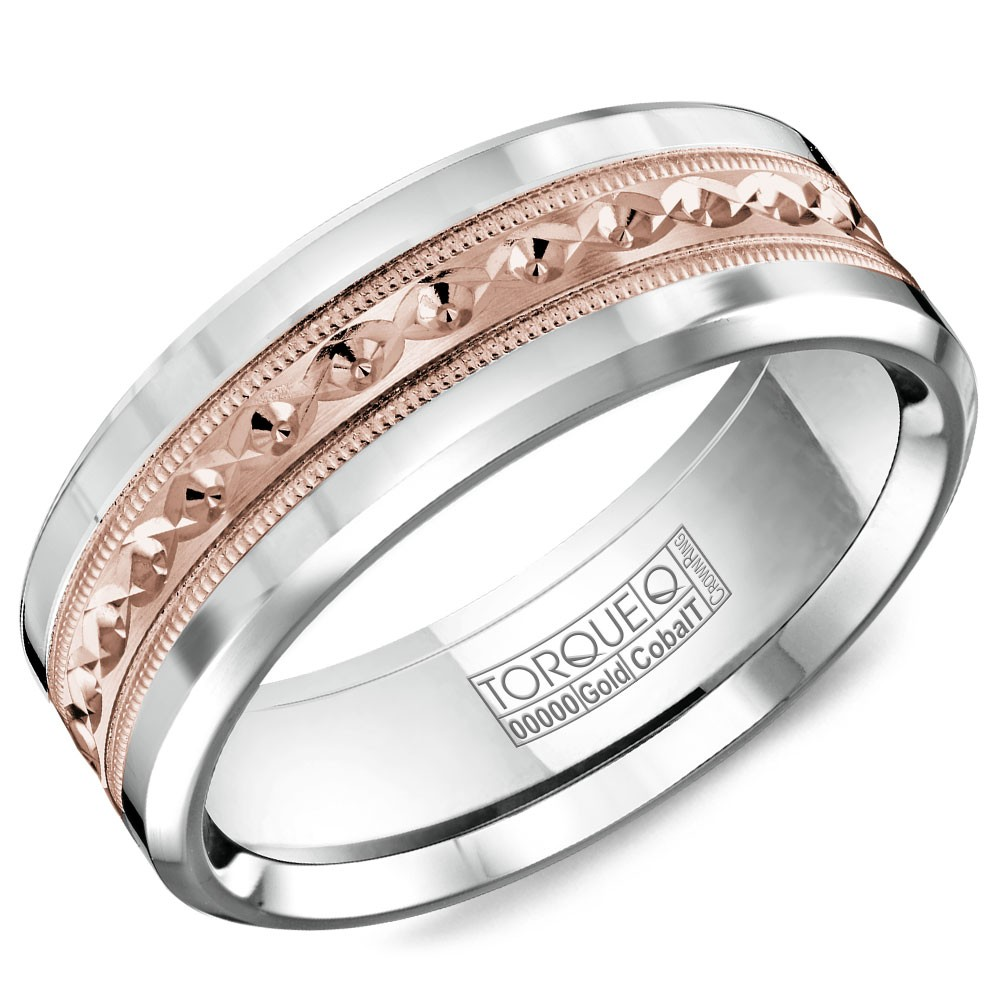 A Torque Ring In White Cobalt With A Carved Rose Gold Inlay.
