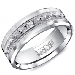 A Torque Ring In White Cobalt With A Carved White Gold Inlay.