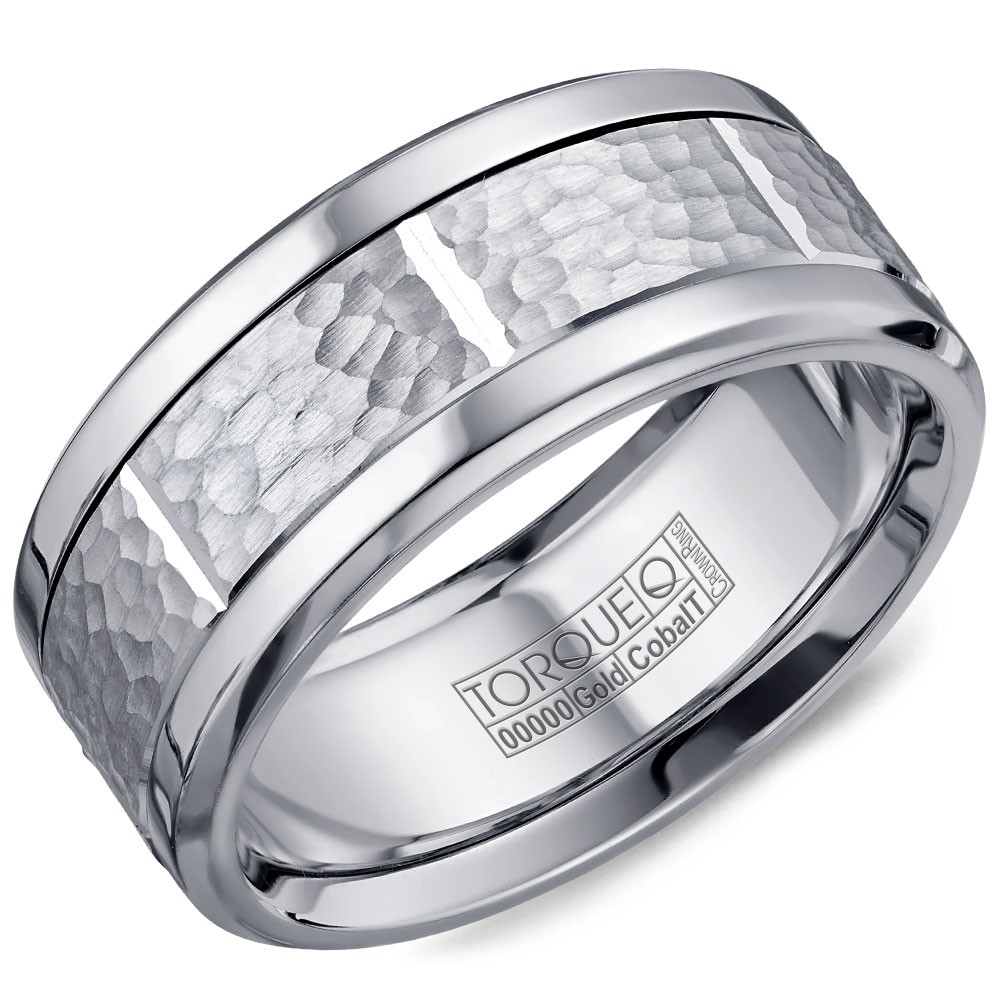 A Torque Ring In White Cobalt With A Hammered White Gold Center And Notch Detailing.