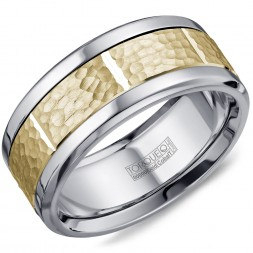 A Torque Ring In White Cobalt With A Hammered Yellow Gold Center And Notch Detailing.