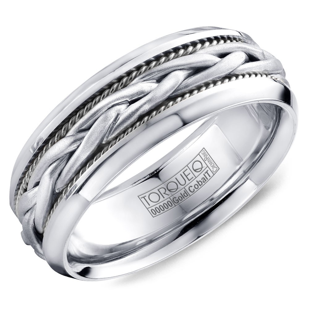 A Torque Ring In White Cobalt With A Braided White Gold Center.