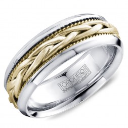 A Torque Ring In White Cobalt With A Braided Yellow Gold Center.