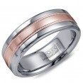 A Torque Ring In White Cobalt With A Brushed Rose Gold Center And Milgrain Detailing.