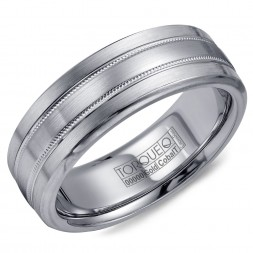 A Torque Ring In White Cobalt With A Brushed White Gold Center And Milgrain Detailing.