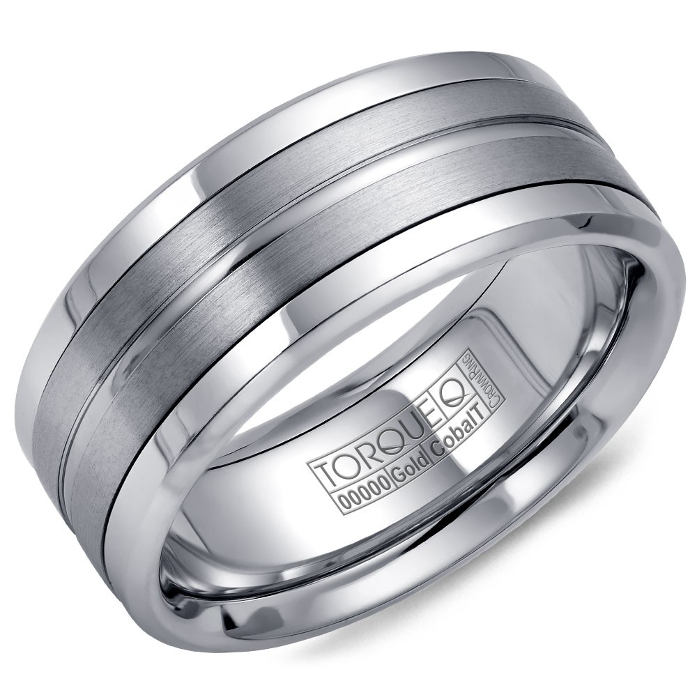 A Torque Ring In White Cobalt With A Brushed White Gold Center And Line Detailing.