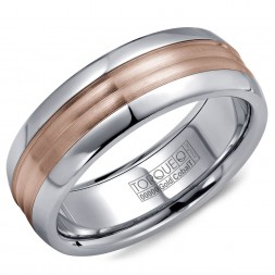 A Torque Ring In White Cobalt With A Rose Gold Center.