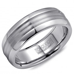 A Torque Ring In White Cobalt With A White Gold Center.