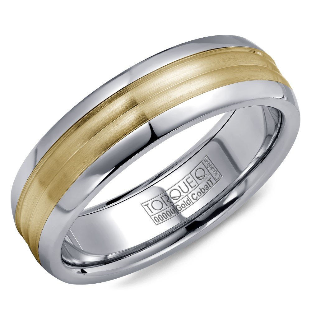 A Torque Ring In White Cobalt With A Yellow Gold Center.