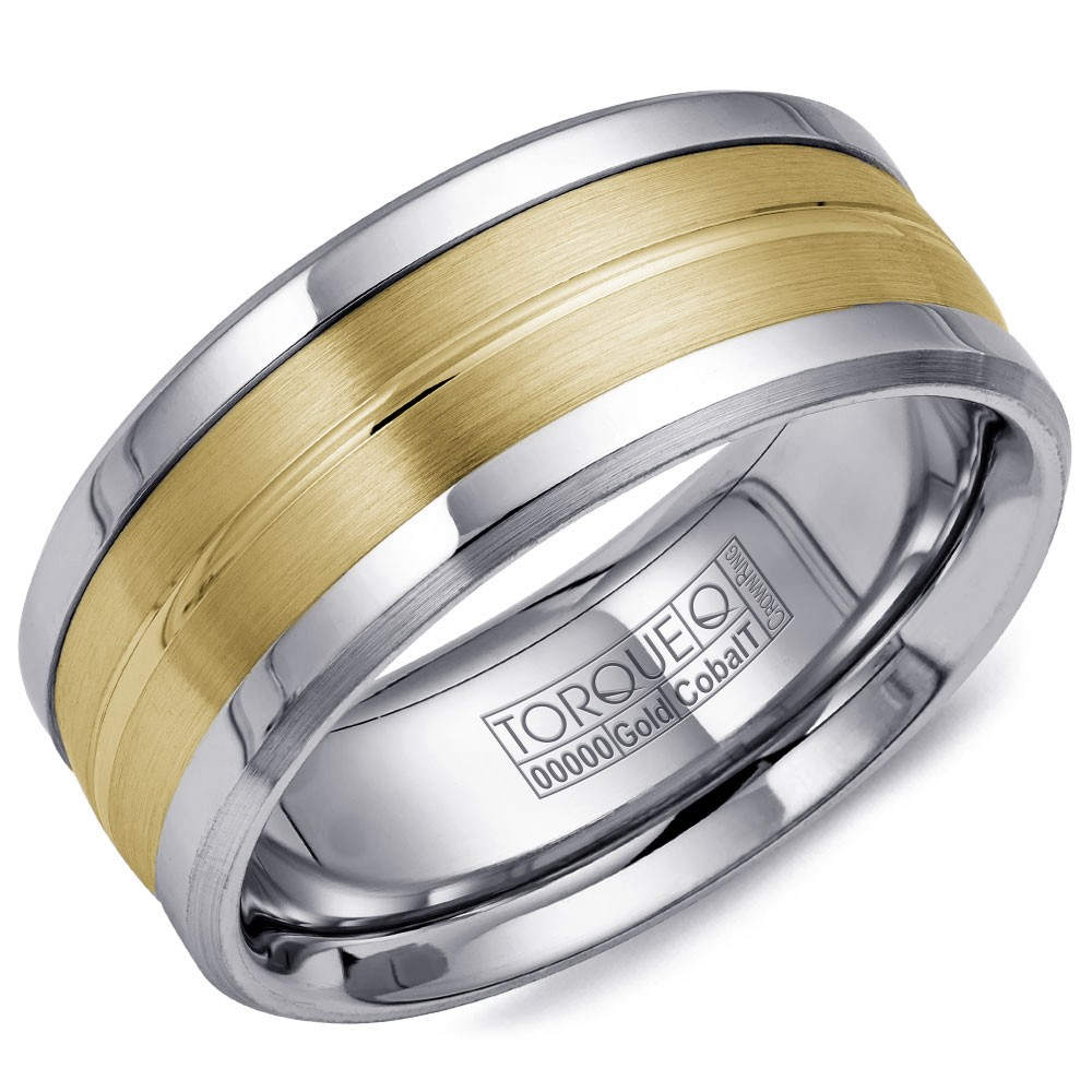 A Torque Ring In White Cobalt With A Yellow Gold Inlay.