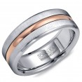 A Torque Ring In Brushed White Cobalt With A Rose Gold Inlay.