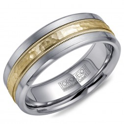 A Torque Ring In White Cobalt With A Hammered Yellow Gold Center And Milgrain Detailing.