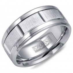 A Torque Ring In White Cobalt With A Sandpaper Finish White Gold Center.