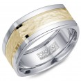 A Torque Ring In White Cobalt With A Hammered Yellow Gold Inlay.