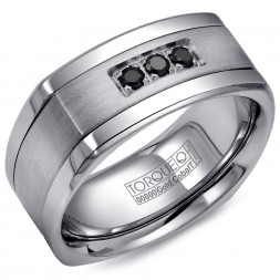 A Torque Ring In White Cobalt With A White Gold Inlay And Three Black Sapphires.