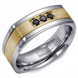 A Torque Ring In White Cobalt With A Yellow Gold Inlay And Three Black Sapphires.
