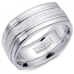 A Torque Ring In White Cobalt With A Hammered White Gold Center And Line Detailing.