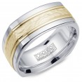 A Torque Ring In White Cobalt With A Hammered Yellow Gold Center And Line Detailing.