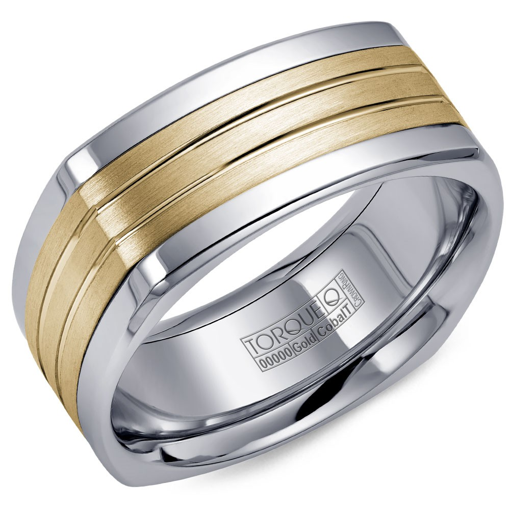 A Torque Ring In White Cobalt With A Yellow Gold Center And Polished Line Detailing.