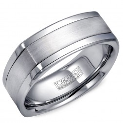 A Torque Ring In White Cobalt With A White Gold Inlay.