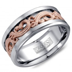 A Torque Ring In White Cobalt With A Carved Rose Gold Center.