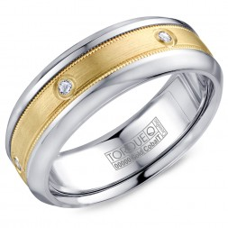 A Torque Ring In White Cobalt With A Yellow Gold Inlay And Six Diamonds.