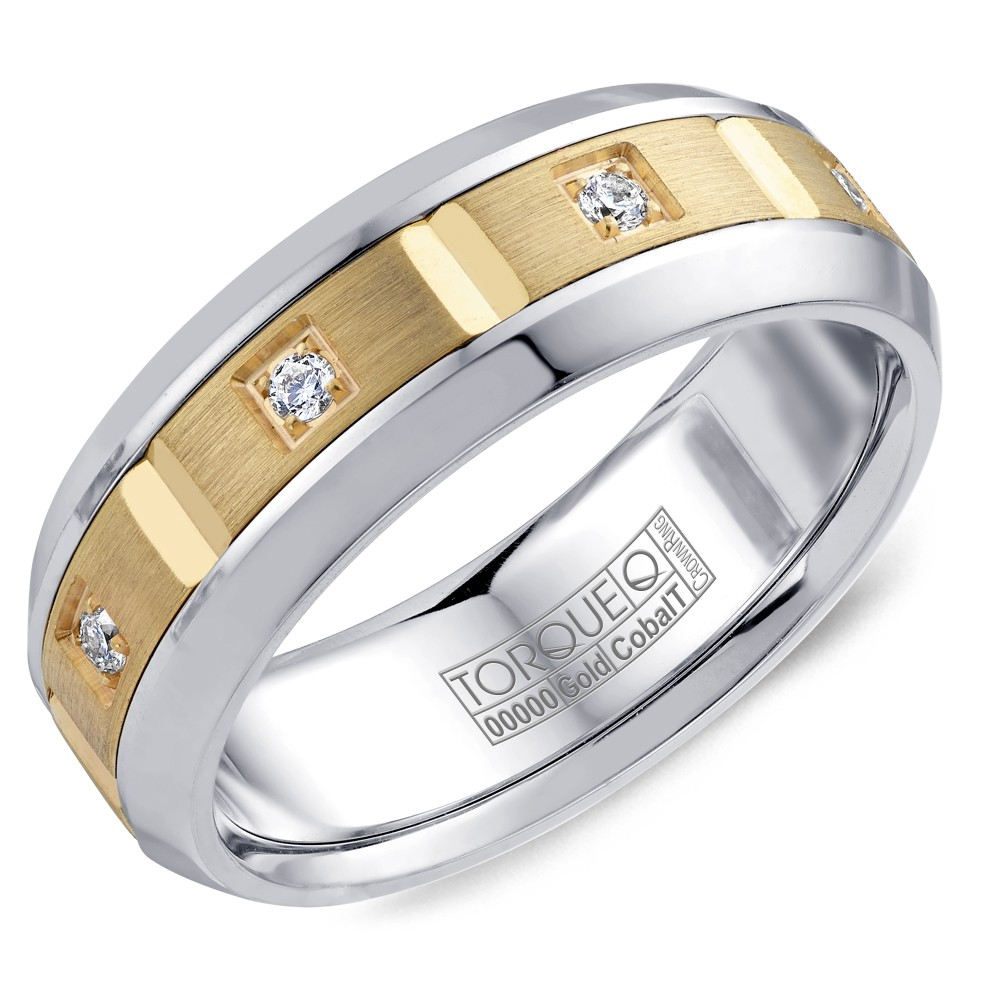 A Torque Ring In White Cobalt With A Yellow Gold Inlay And Eight Diamonds.