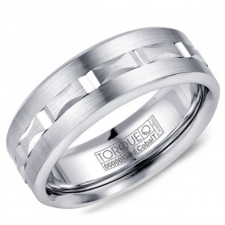 A Torque Ring In White Cobalt With A Carved White Gold Center.