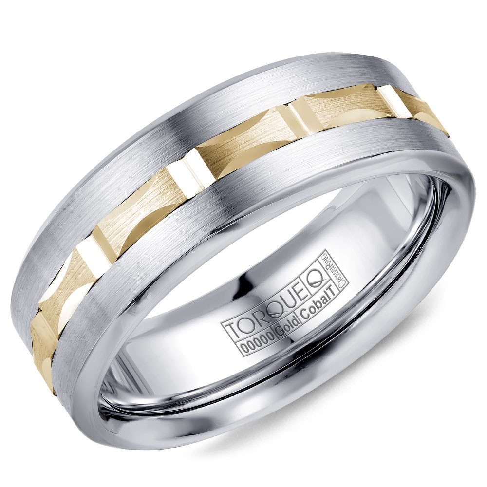 A Torque Ring In White Cobalt With A Carved Yellow Gold Center.