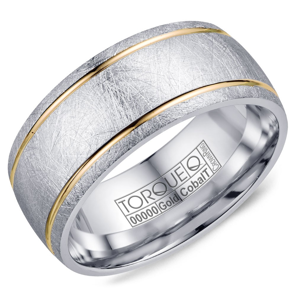 A Torque Ring In Diamond Brushed White Cobalt With Yellow Gold Line Detailing.
