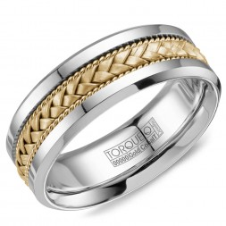 A Torque Ring In White Cobalt With A Braided Yellow Gold Inlay.