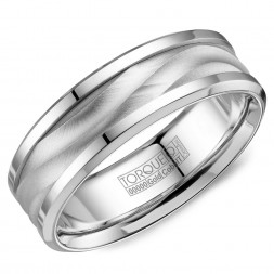 A Torque Ring In White Cobalt With A White Gold Wave Pattern Inlay.