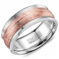 A Torque Ring In White Cobalt With A Brushed Rose Gold Inlay And Line Detailing.