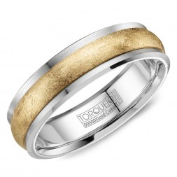 A Torque Ring In White Cobalt With A Diamond Brushed Yellow Gold Inlay.