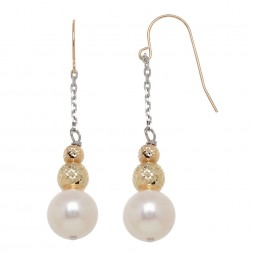 14KY Sterling Silver 9-10mm Freshwater Cultured Pearl with 4-6mm Gold Beads Drop Earrings