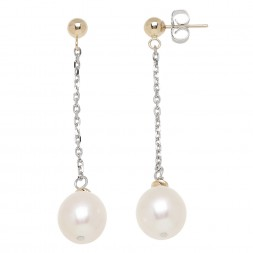 14KY Sterling Silver 9-9.5mm Freshwater Cultured Pearl with 4-6mm Gold Beads Drop Earrings