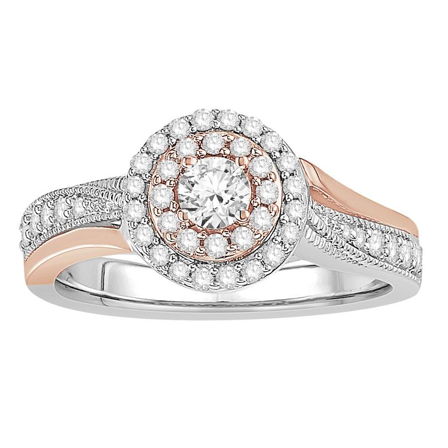 Double Diamond Halo Wedding Set