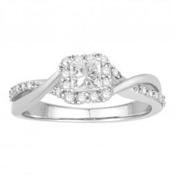 Twist Princess Cut Engagement Ring