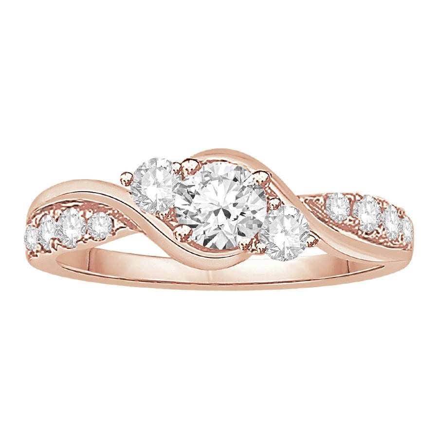 Twisted 3 Stone Diamond Ring