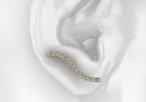 14K Yellow Gold Diamond Earclimbers