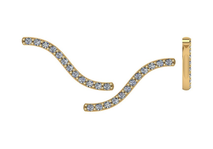 14K Yellow Gold Diamond Earclimbers