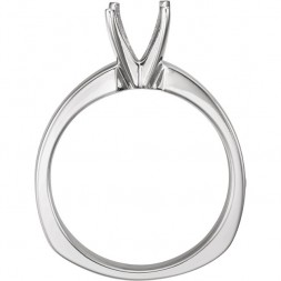 14K White 5.8 mm Round 4-Prong EURO- Shank Ring