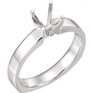14K White 5.8 mm Round 4-Prong  EURO- Shank Ring