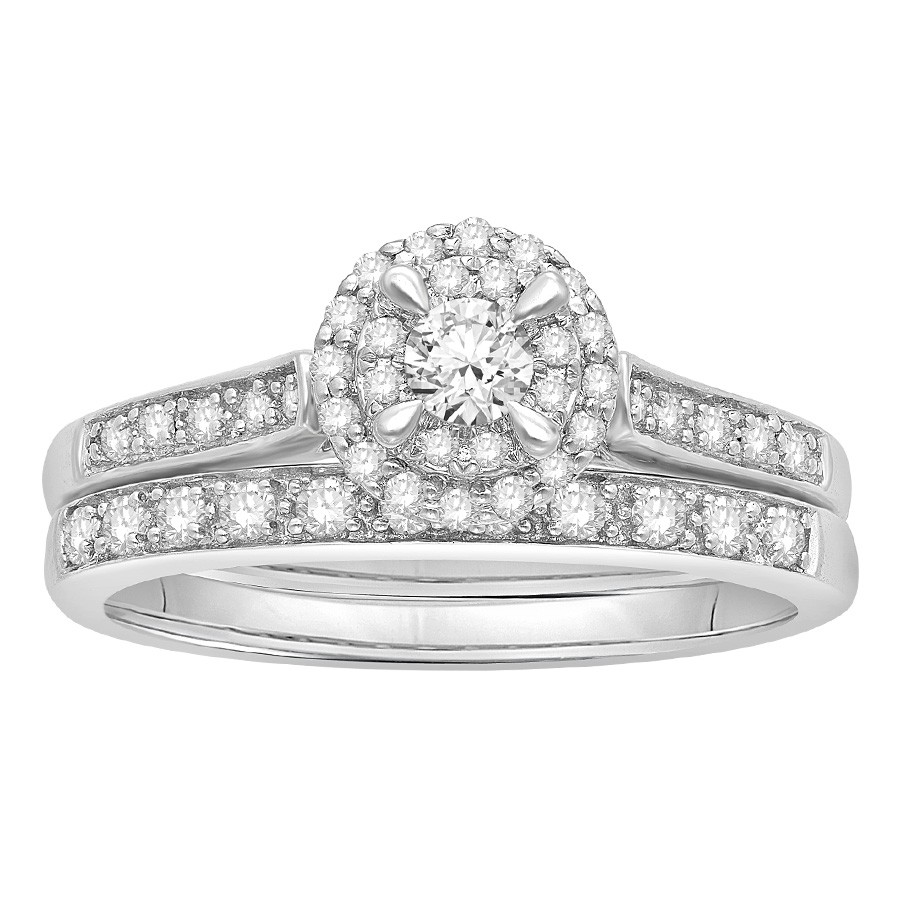 Diamond Halo Wedding Set