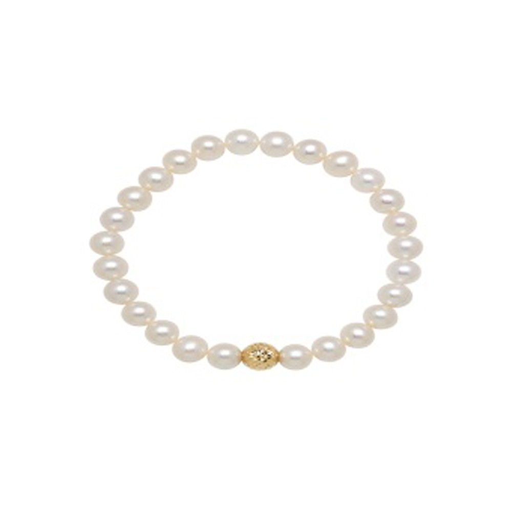 14KY Stretch Bracelet with 7-9mm Freshwater Cultured Pearl with Center Gold Bead